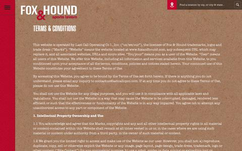 Screenshot of Terms Page foxandhound.com - Fox & Hound  Terms & Conditions - captured July 1, 2017