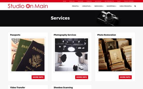 Screenshot of Services Page studioonmain.com - Studio on Main: quality photo prints, books, and canvas. - captured Oct. 7, 2017