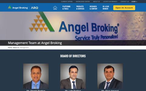 Screenshot of Team Page angelbroking.com - Find out about the Management Team at Angel Broking here! - captured May 30, 2017