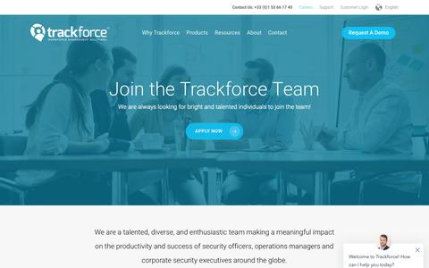 Screenshot of Jobs Page trackforce.com - Careers in Security Workforce Management Solutions | Trackforce - captured Oct. 19, 2018