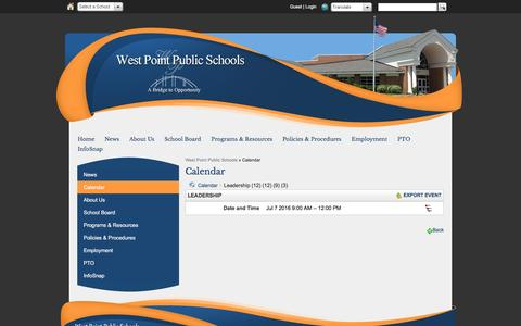 Screenshot of Team Page wpschools.net - Calendar - West Point Public Schools - captured June 17, 2016