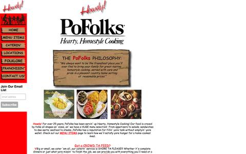 Screenshot of Home Page pofolks.com - Howdy-Welcome to Pofolks Restaurants! - captured Oct. 2, 2014