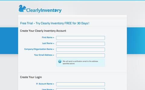 Screenshot of Signup Page clearlyinventory.com - Clearly Inventory Application - captured Sept. 19, 2014