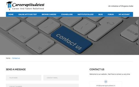 Screenshot of Contact Page careeraptitudetest.in - Contact Us - captured Feb. 6, 2019