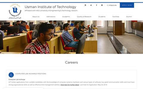Screenshot of Jobs Page uit.edu - Usman Institute of Technology - captured Nov. 15, 2018