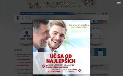 Screenshot of Home Page sbagency.sk - Slovak Business Agency | Prvá voľba pri vzniku a rozvoji vášho podnikania - captured Nov. 15, 2018