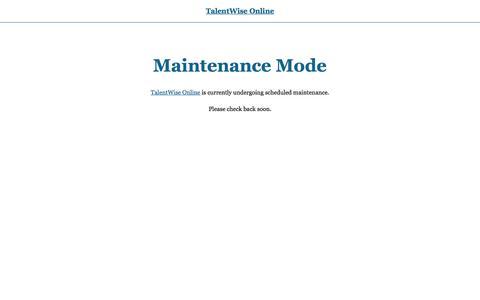 TalentWise Online � Maintenance Mode