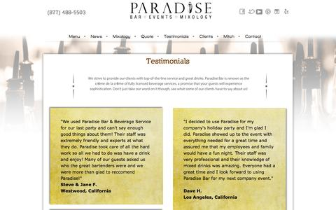 Screenshot of Testimonials Page paradisebar.net - Testimonials | Bar Services Los Angeles - captured Oct. 1, 2014