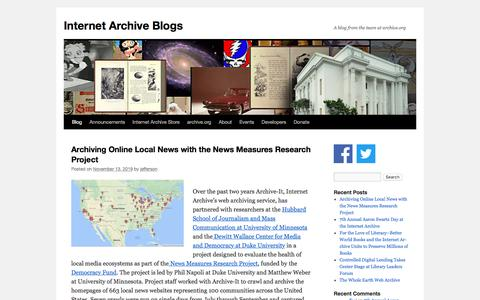 Screenshot of Blog archive.org - Internet Archive Blogs   A blog from the team at archive.org - captured Nov. 16, 2019