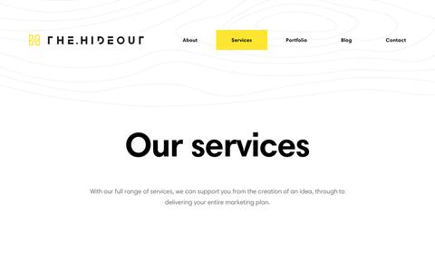 Screenshot of Services Page thehideout.co.uk - Design, Digital and Content - Full Range of Marketing Services - captured Sept. 23, 2017