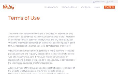 Screenshot of Terms Page vitalitygroup.com - Terms of Use - Vitality - captured June 10, 2017