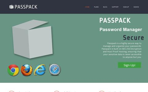 Screenshot of Home Page passpack.com - Passpack - Password Manager - captured July 11, 2014