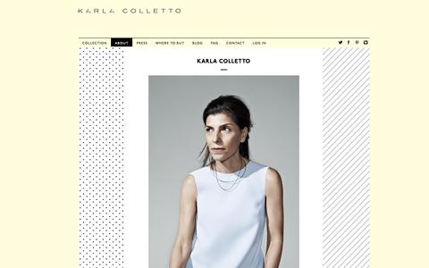 Screenshot of About Page karlacolletto.com - About : Karla Colletto - captured Oct. 15, 2018