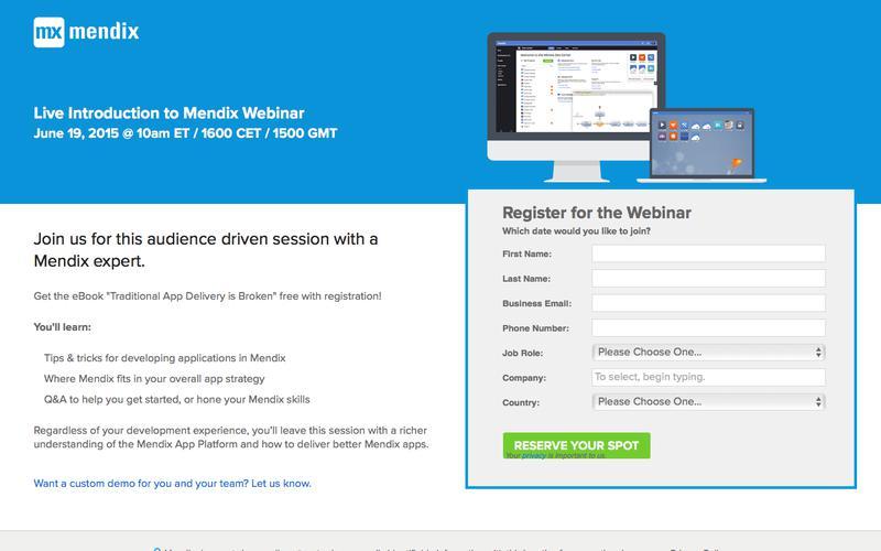 Live Mendix Demo Webinar