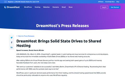 Screenshot of Press Page dreamhost.com - DreamHost Brings Solid State Drives to Shared Hosting  – DreamHost - captured Feb. 21, 2020