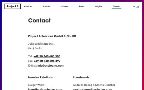 Screenshot of Contact Page project-a.com - Contact | Project A  |  The Operational VC - captured Feb. 9, 2017