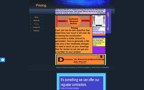 Screenshot of Pricing Page division26electricalestimating.com - Pricing - captured Aug. 7, 2018