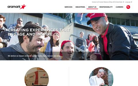 Screenshot of About Page aramark.com - About Us | Aramark - captured March 14, 2018
