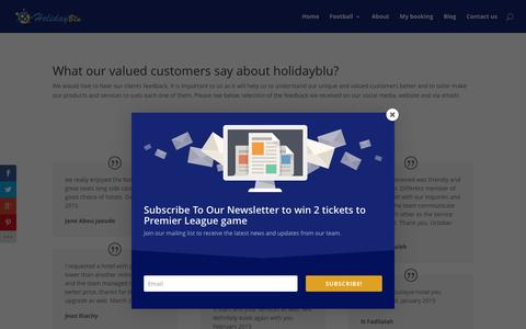 Screenshot of Testimonials Page holidayblu.com - What our customers say about holidayblu   Testimonials - captured April 24, 2016