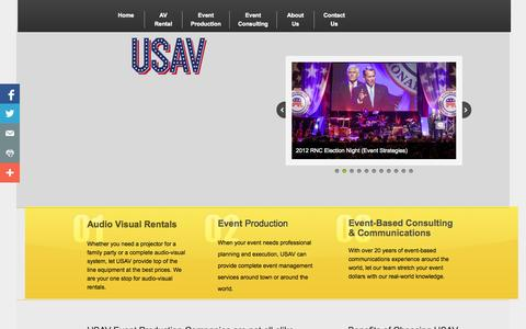 Screenshot of Home Page us-av.com - United States Audio Visual, LLC - Event Production Company, Audio Visual Equipment Rental, Event Management - captured Oct. 7, 2014