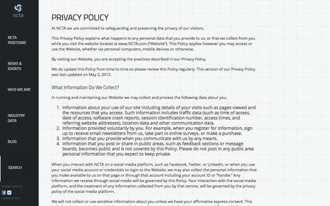 Screenshot of Privacy Page ncta.com - Privacy Policy | NCTA - captured Sept. 22, 2014