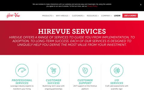 Screenshot of Services Page hirevue.com - HireVue Services | For the Best Talent, Faster - captured April 28, 2018