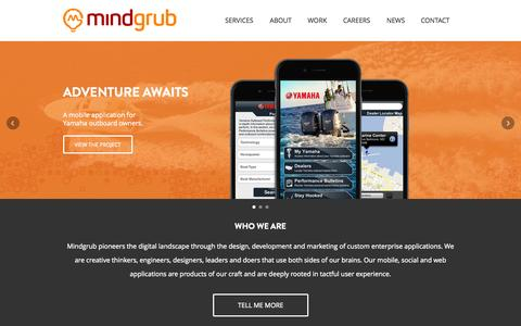 Screenshot of Home Page mindgrub.com - Baltimore iPhone, Android & Web App Developer | Mindgrub Technologies, LLC | Baltimore, Maryland - captured July 16, 2015