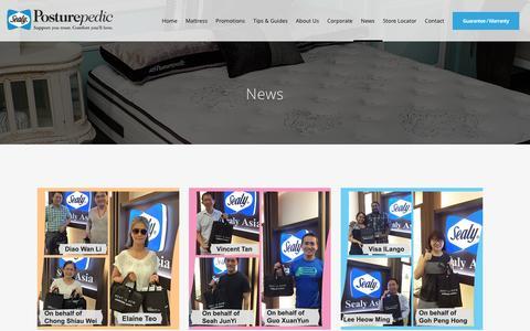 Screenshot of Press Page sealy.com.sg - Sealy |   News - captured Nov. 19, 2016