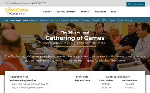 Screenshot of Pricing Page greatgame.com - Events - The Annual Gathering of Games - Pricing | The Great Game of Business - captured July 6, 2018