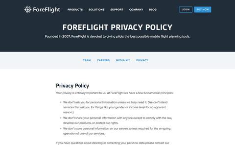 Screenshot of Privacy Page foreflight.com - ForeFlight - Privacy - captured Dec. 29, 2016