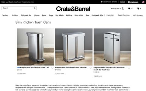 Slim Kitchen Trash Cans | Crate and Barrel