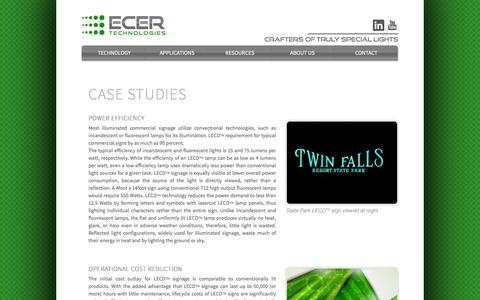 Screenshot of Case Studies Page ecertechnologies.com - Ecer Technologies - Case Studies - captured July 11, 2016