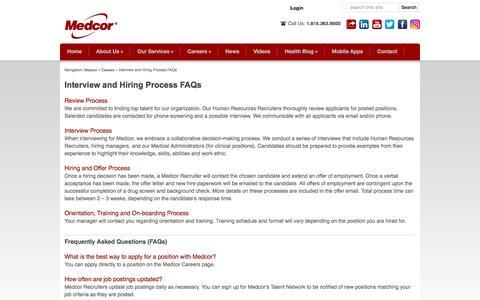 Screenshot of FAQ Page medcor.com - Interview and Hiring Process FAQs | Medcor - captured Aug. 10, 2016