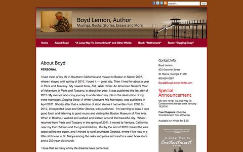 Screenshot of About Page boydlemon-writer.com - About Boyd » Boyd Lemon, Writer - captured Oct. 5, 2014