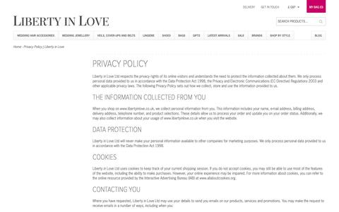 Screenshot of Privacy Page libertyinlove.co.uk - Privacy Policy | Liberty in Love - captured Jan. 29, 2016