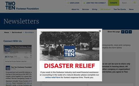 Screenshot of Signup Page twoten.org - Newsletters - Two Ten - captured Oct. 20, 2018