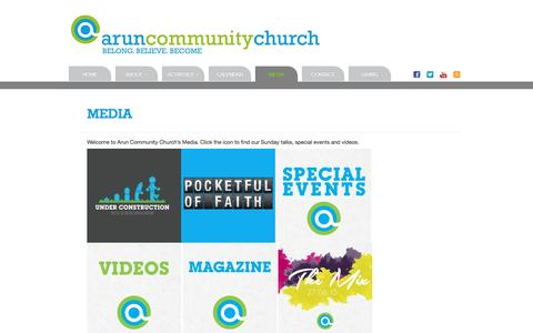 Screenshot of Press Page aruncommunitychurch.com - Arun Community Church | Media - captured May 30, 2017