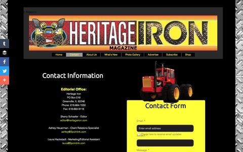 Screenshot of Contact Page heritageiron.com - Contact - captured May 23, 2016