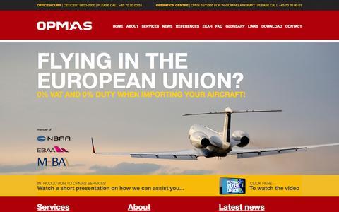 Screenshot of Home Page opmas.dk - OPMAS Denmark Aircraft EU VAT duty import export cabotage - captured Sept. 4, 2015