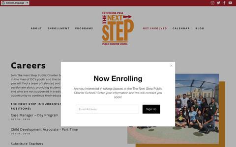 Screenshot of Jobs Page nextsteppcs.org - Careers — The Next Step Public Charter School - captured Nov. 16, 2018