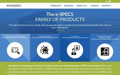 Screenshot of Home Page e-specs.com - e-SPECS, the Internet Source for Spec Writing Software & Services - captured Oct. 6, 2014