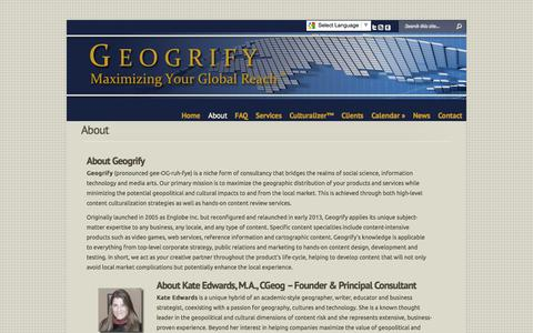 Screenshot of About Page geogrify.com - About | Geogrify - captured Oct. 2, 2014