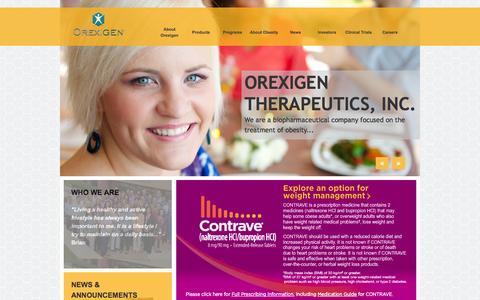 Screenshot of Home Page orexigen.com - Orexigen Therapeutics, Inc. - Home - captured Jan. 26, 2015