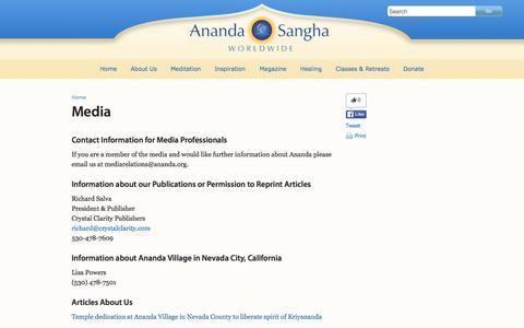 Screenshot of Press Page ananda.org - Media - Ananda Sangha Worldwide - captured Jan. 16, 2016
