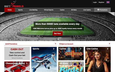 Screenshot of Home Page betrebels.com - BetRebels | Sports betting and online casino games - captured Oct. 20, 2017