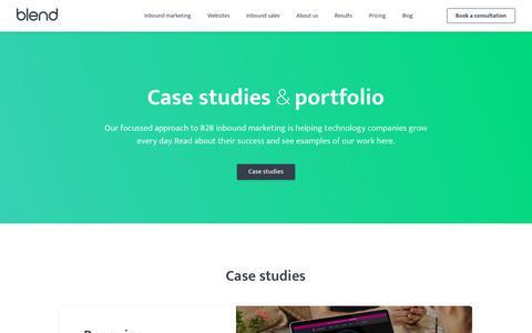Screenshot of Case Studies Page blendb2b.com - Inbound Marketing Results | Client Case Studies - captured Feb. 8, 2018
