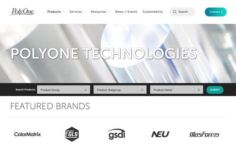 Screenshot of Products Page polyone.com - Polymer Products: Colorants, Additives & Formulations - captured Feb. 15, 2020