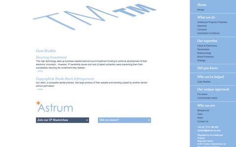 Screenshot of Case Studies Page astrum-ip.com - Case Studies - captured Oct. 9, 2017