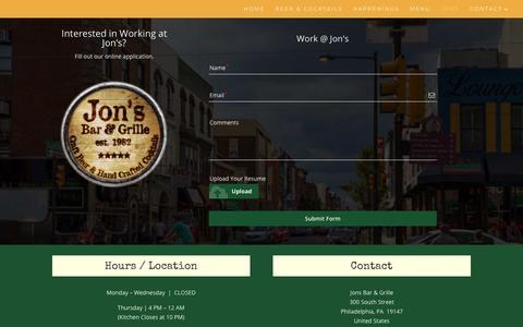 Screenshot of Jobs Page jonsbarandgrille.com - Work at Jon's  | Jon's Bar & Grille - captured Oct. 14, 2018