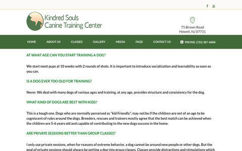 Screenshot of FAQ Page ksk9.com - Frequently Asked Questions - Kindred Souls Canine Training Center - captured Jan. 26, 2017